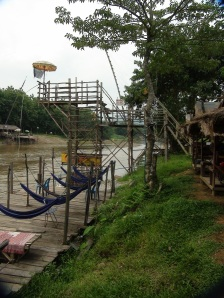 slides into the Nam Song River in Vang Vieng