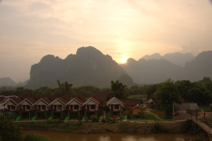 View of Vang Vieng and the Nam Som from the Hotel Room