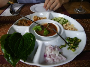 Betel leaf plate at the Tropical Spice Garden restaurant in Penang